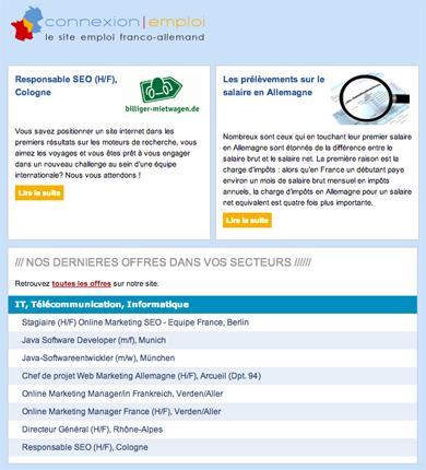 Connexion emploi abonnez vous notre newsletter emploi - Cabinet de recrutement franco allemand ...