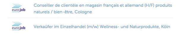 offre d'emploi publiée en français et en allemand